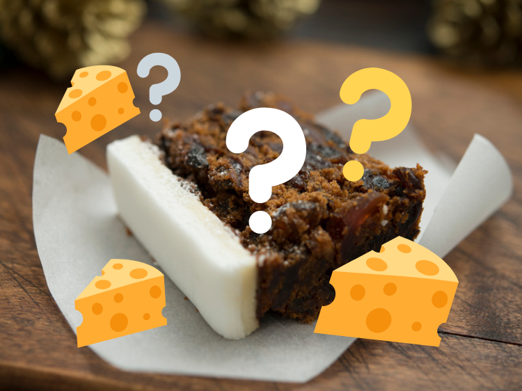 British Christmas Cake.Some British People Eat Their Christmas Cake With A Big Slab