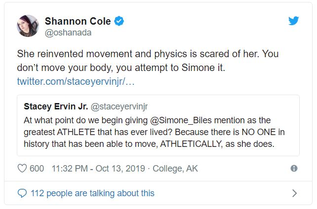 Simone Biles reinvented movement and physics is scared of her.